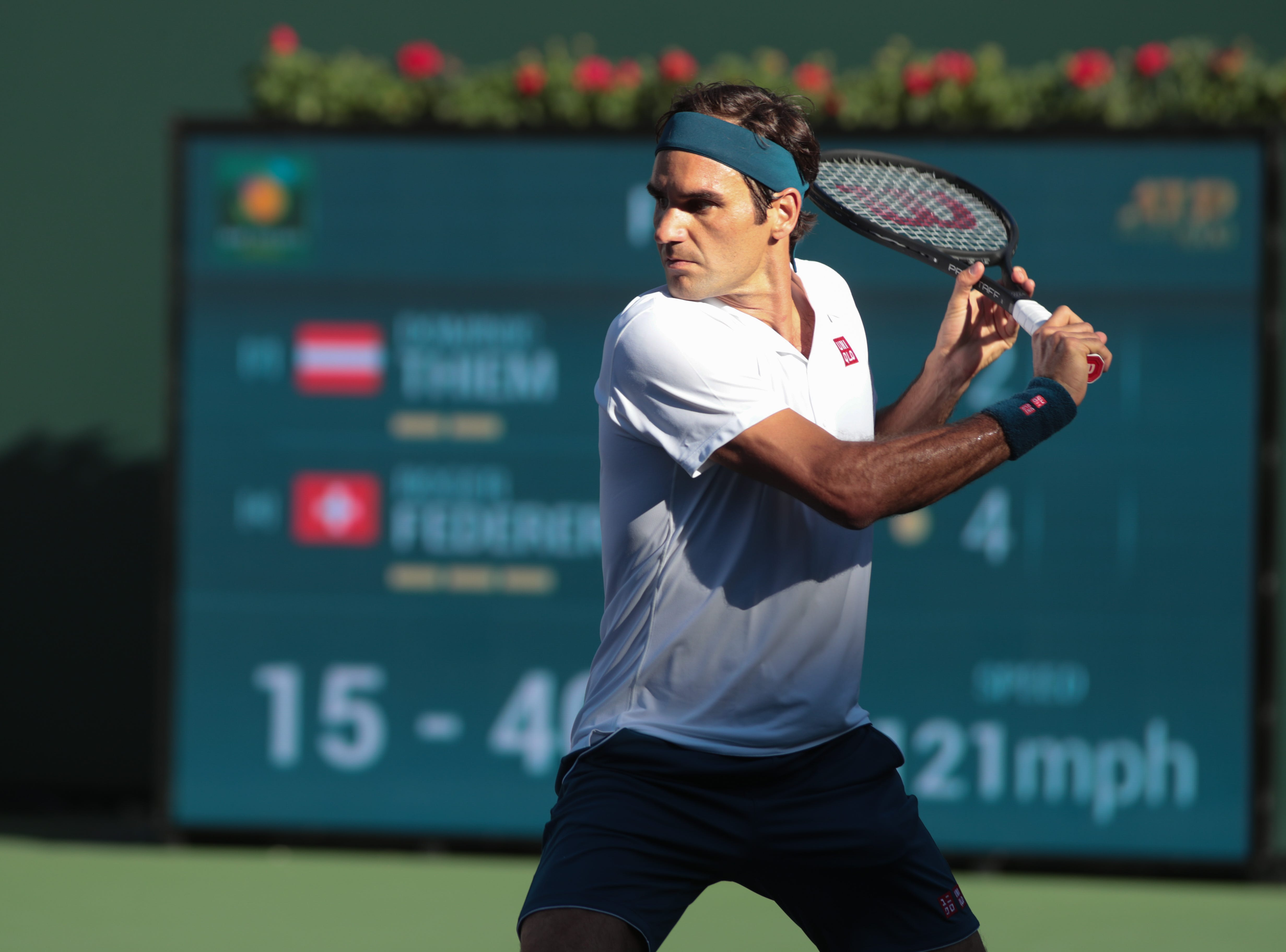 Roger Federer prepares to hit a backhand in the finals of the BNP Paribas Open in Indian Wells, Calif., March 17, 2019.