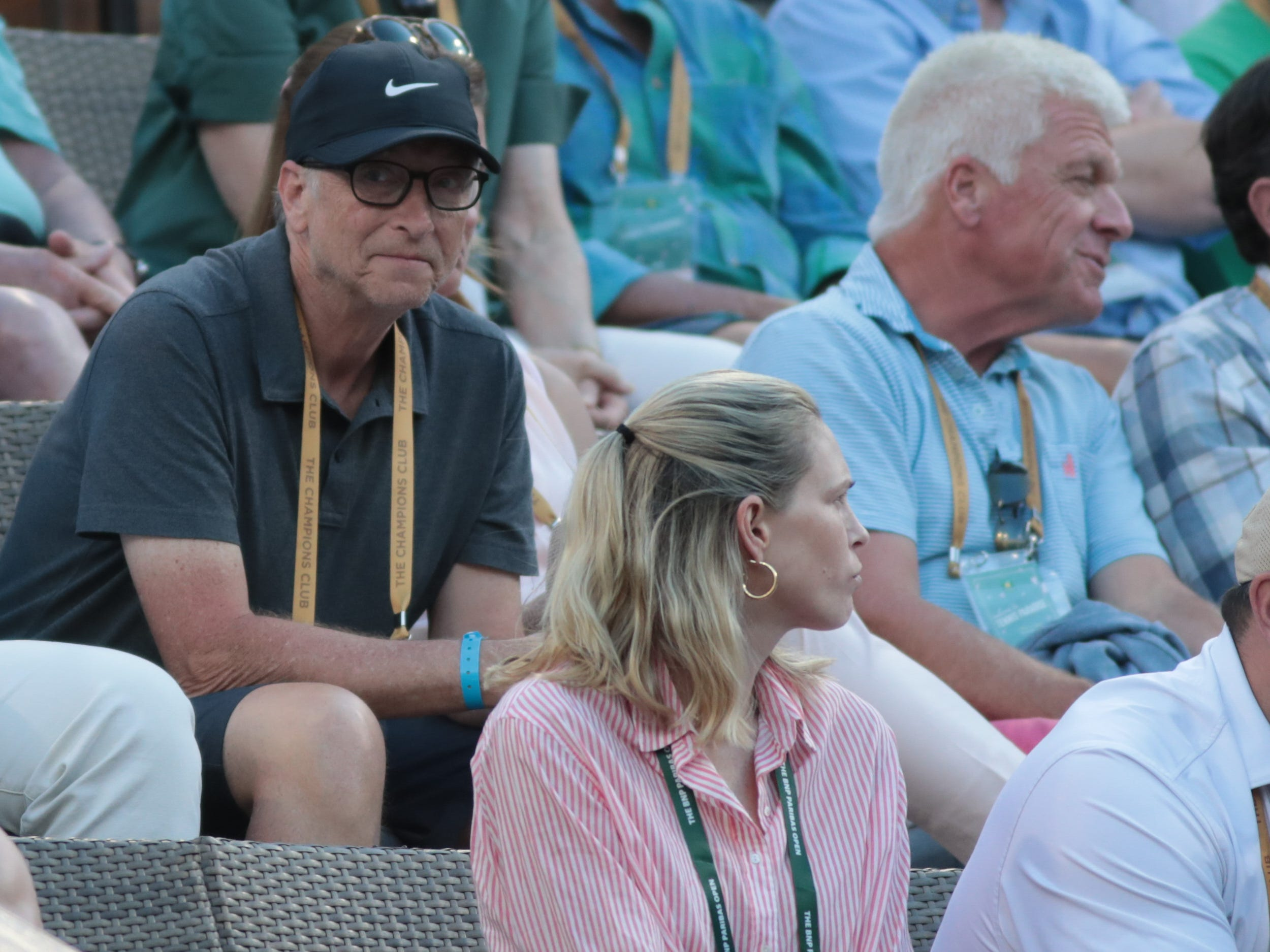Bill Gates looks towards Roger Federer's team during the final set of the finals of the BNP Paribas Open in Indian Wells, Calif., March 17, 2019.