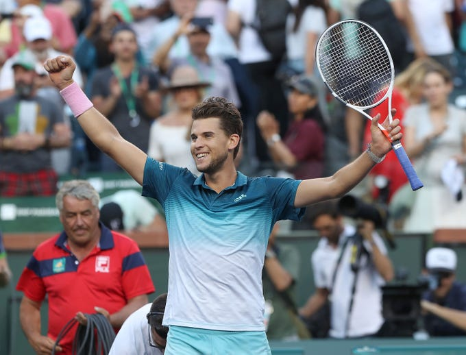 Dominic Thiem celebrates his win over Roger Federer at the Paribas Open final in Indian Wells, March 17, 2019.