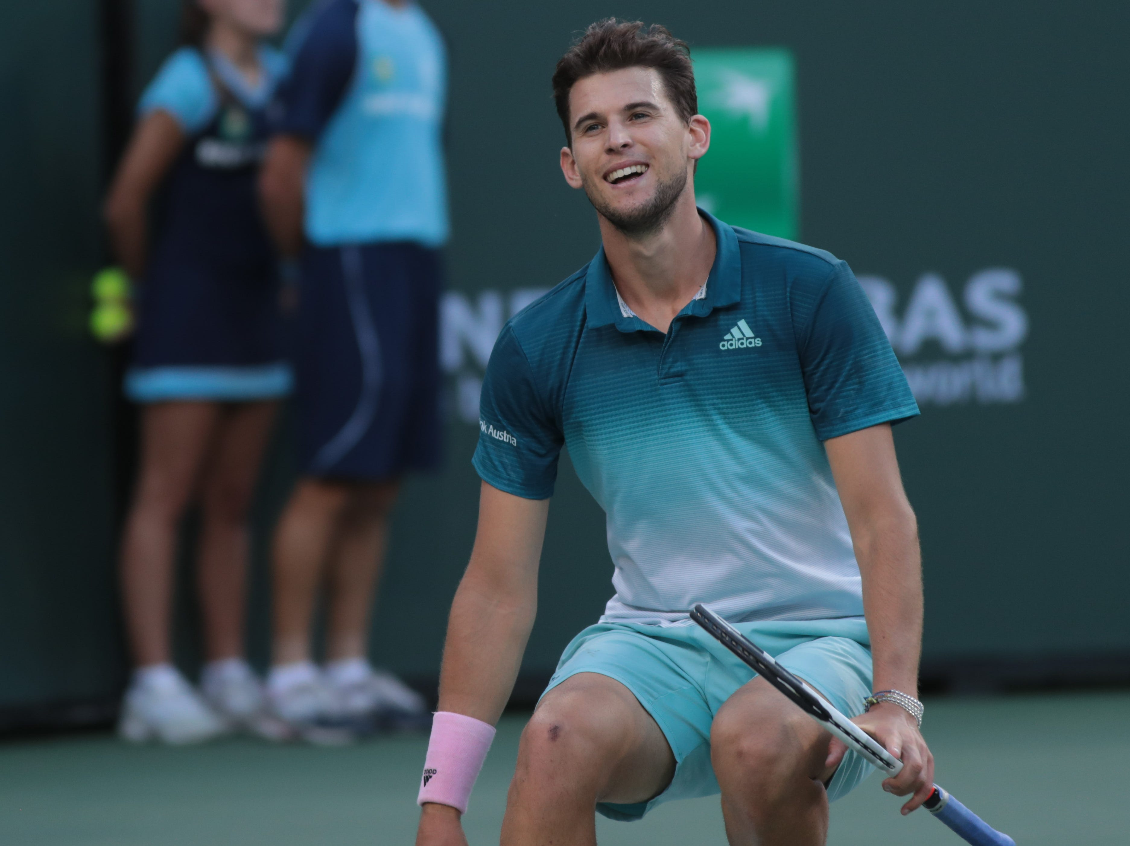 Dominic Thiem reacts after defeating Roger Federer in the finals of the BNP Paribas Open in Indian Wells, Calif., March 17, 2019.