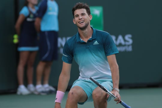 Dominic Thiem defeats Roger Federer in the finals of the BNP Paribas Open in Indian Wells, Calif., March 17, 2019.