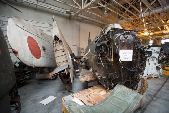 Unrestored parts of a Japanese NIK Kyofu aircraft, codenamed Rex by the Allies, are stored in a National Naval Aviation Museum warehouse at Naval Air Station Pensacola on Thursday, March 14, 2019.  Only 97 NIK Kyofu aircraft were manufactured and this is one of only 3 still in existence.  Currently, there are no plans to utilize this in a trade and exchange, but if there was a project that would result in substantial benefit to the museum, that airframe could be a candidate for the program.