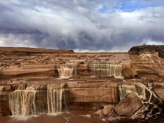 Stormy skies over Grand Falls on the Little Colorado River. The waterfall is on the Navajo Reservation east of Flagstaff, Arizona.