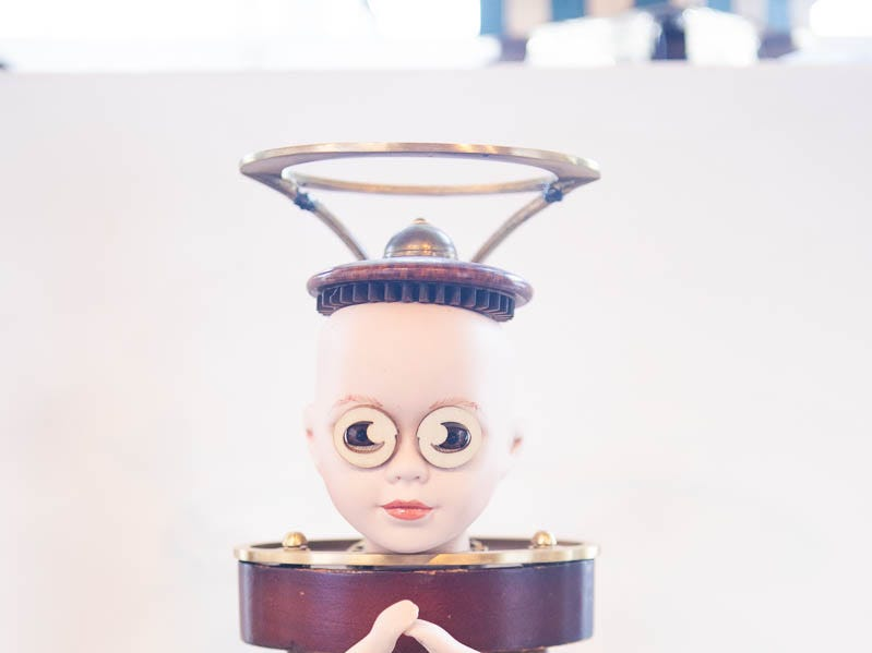 """This sculpture titled """"time out GOD"""" was created by artist Rodgell and was for sale on March 16, 2019, in Phoenix during Art Detour."""