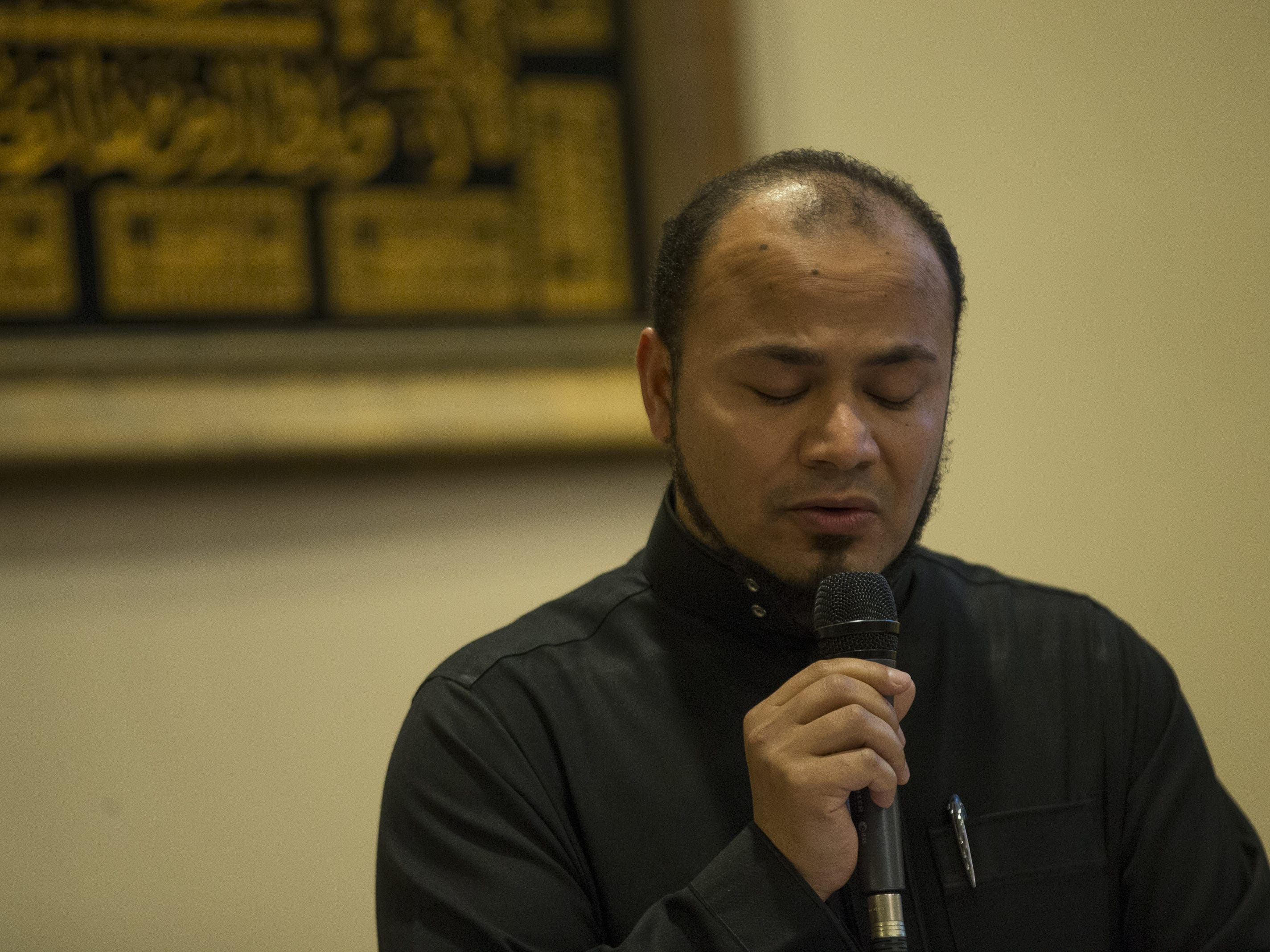 Imaam Moataz Muftah, from the Islamic Center of Northeast Valley, speaks at a vigil held at the ICNV in Scottsdale, Ariz., on Sunday, March 17, 2019, in memory of the Christchurch New Zealand shooting victims.