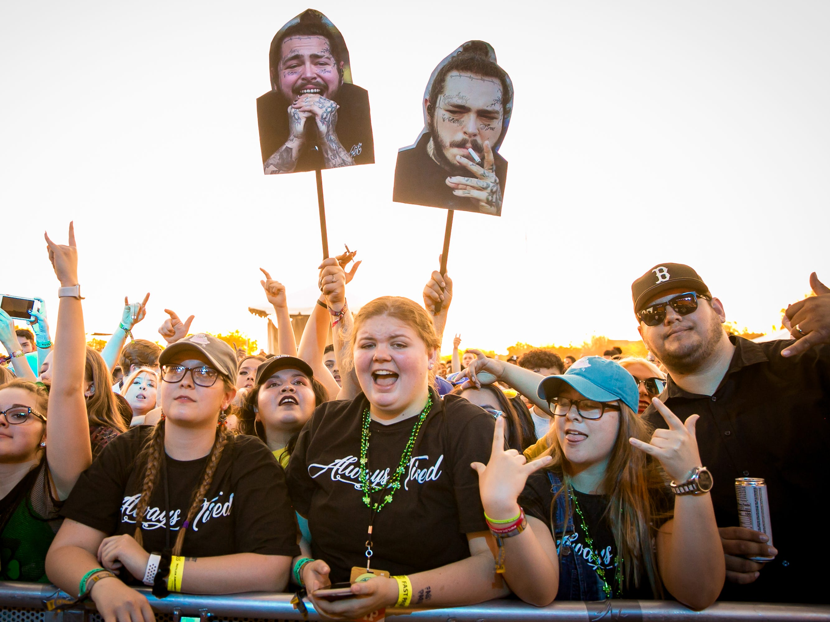 These fans were stoked to see Post Malone at Pot of Gold Music Festival on Sunday, March 17, 2019.