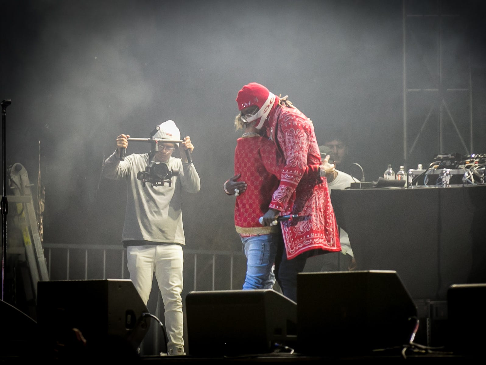 Young Thug brought Lil Pump onstage during Pot of Gold Music Festival on Sunday, March 17, 2019.