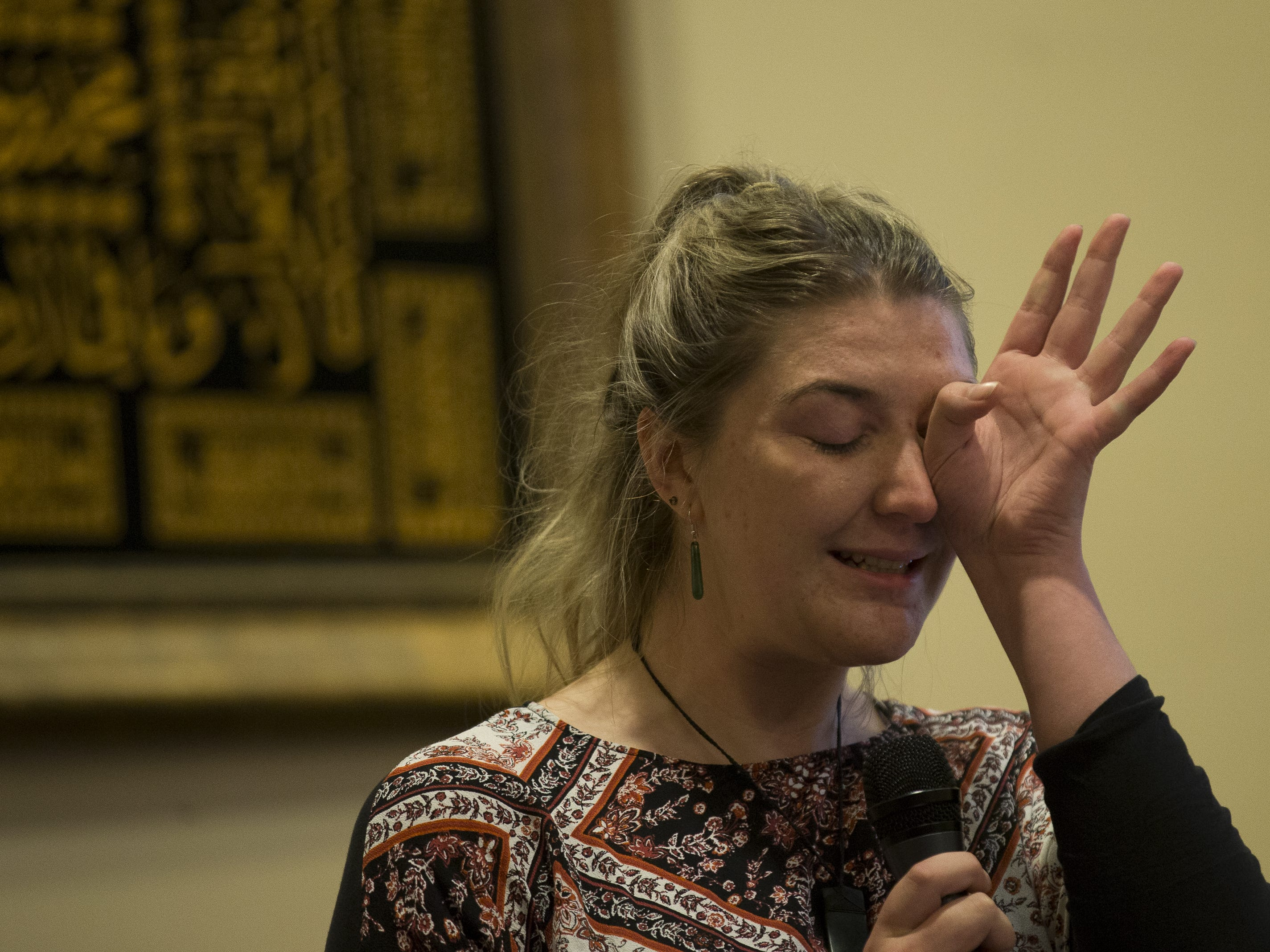 New Zealander Ema Carol speaks at a vigil held at the Islamic Center of Northeast Valley in Scottsdale, Ariz., on Sunday, March 17, 2019, in memory of the Christchurch New Zealand shooting victims.