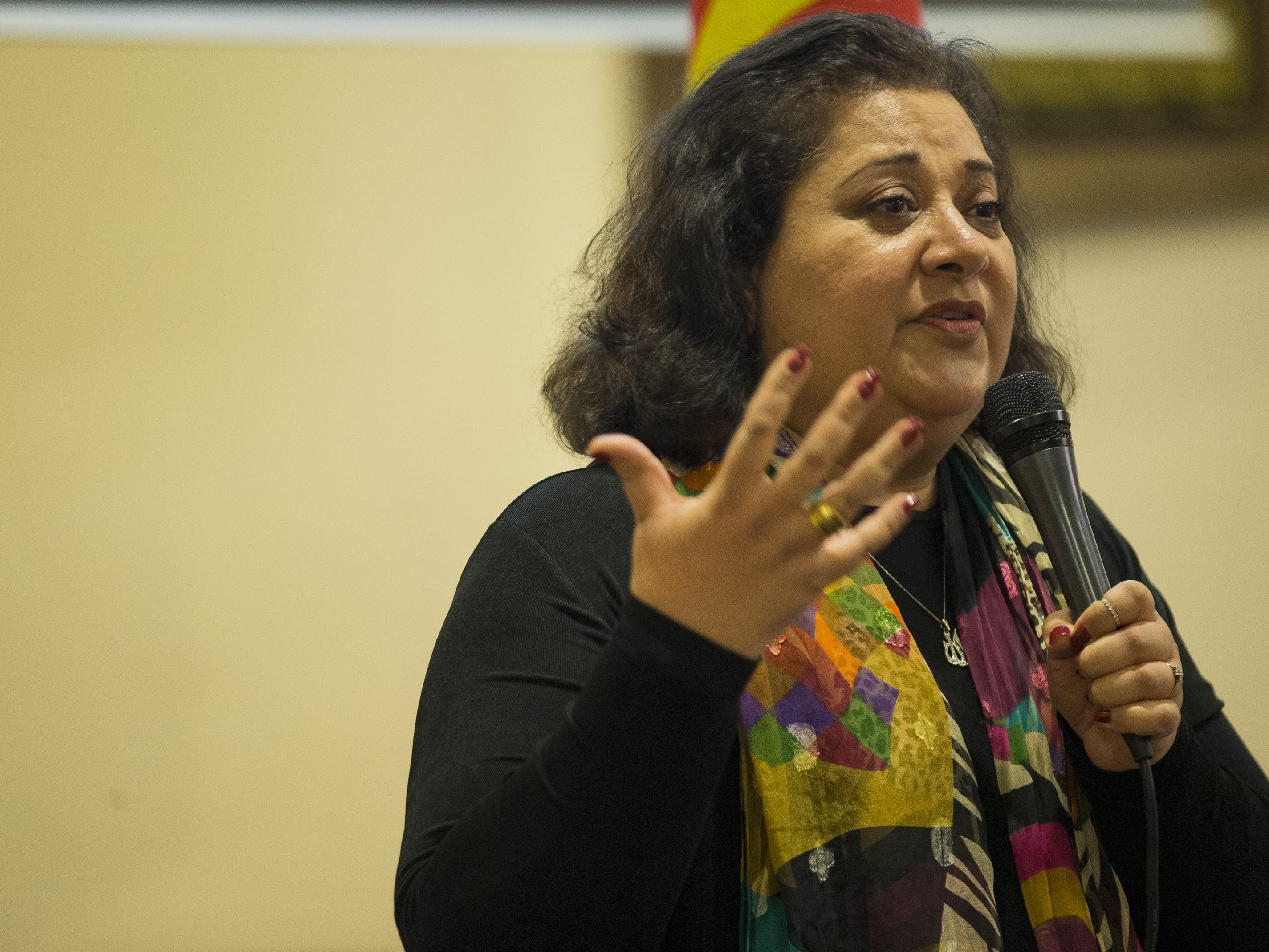 Azra Hussain, the president and co-founder of the Islamic Speakers Bureau of Arizona, speaks at a vigil held at the Islamic Center of Northeast Valley in Scottsdale, Ariz., on Sunday, March 17, 2019, in memory of the Christchurch New Zealand shooting victims.