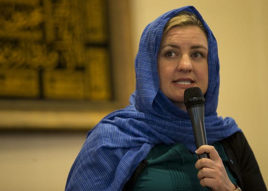 Phoenix Mayor-elect Kate Gallego speaks at a vigil held at the Islamic Center of Northeast Valley in Scottsdale, Ariz., on Sunday, March 17, 2019, in memory of the Christchurch New Zealand shooting victims.