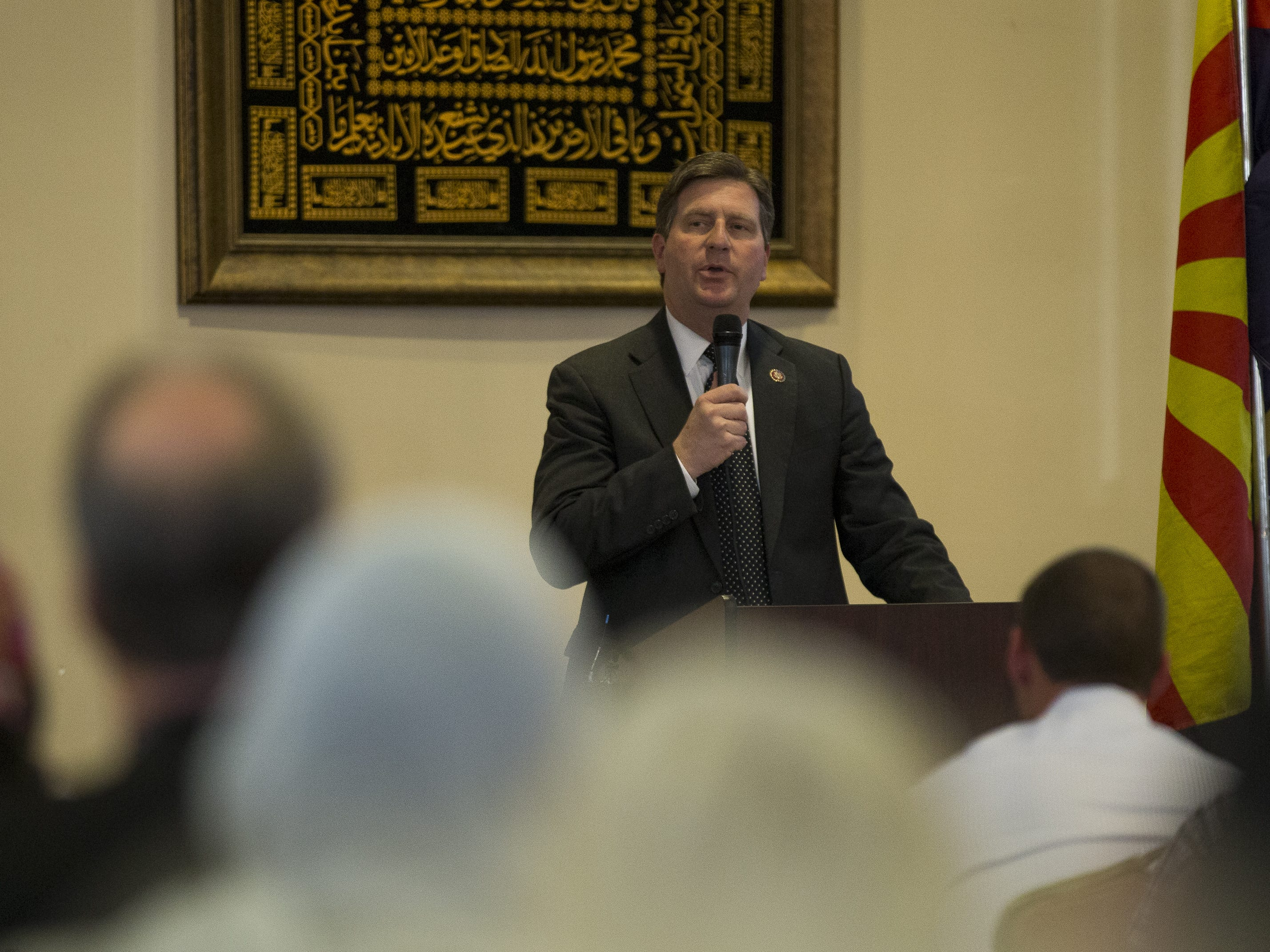 U.S. Rep. Greg Stanton speaks at a vigil held at the Islamic Center of Northeast Valley in Scottsdale, Ariz., on Sunday, March 17, 2019, in memory of the Christchurch New Zealand shooting victims.