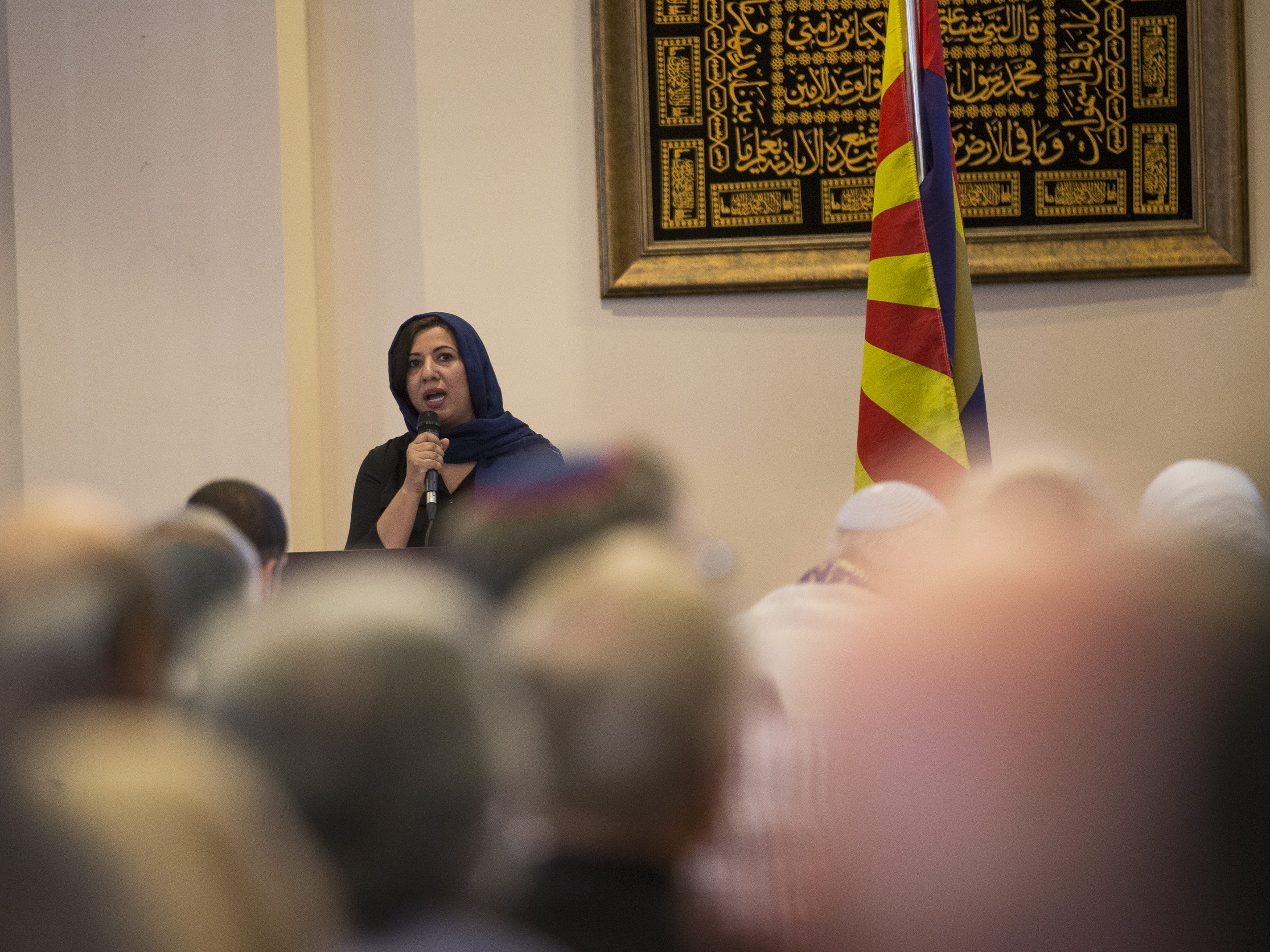 Sadia Zubairi, the public relations coordinator for the Islamic Center of Northeast Valley, speaks at a vigil held at the ICNV in Scottsdale, Ariz., on Sunday, March 17, 2019, in memory of the Christchurch New Zealand shooting victims.
