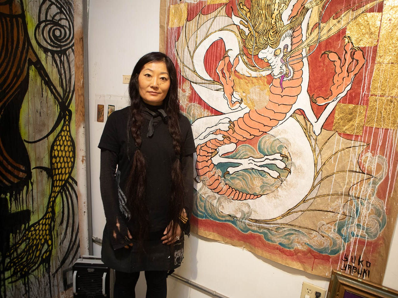 Visual artist Yuko Yabuki is spotted with her work on March 16, 2019, in Phoenix during Art Detour.