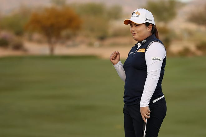 Inbee Park celebrates on the 18th green after winning the LPGA Bank Of Hope Founders Cup at Wildfire Golf Club in Phoenix last year.