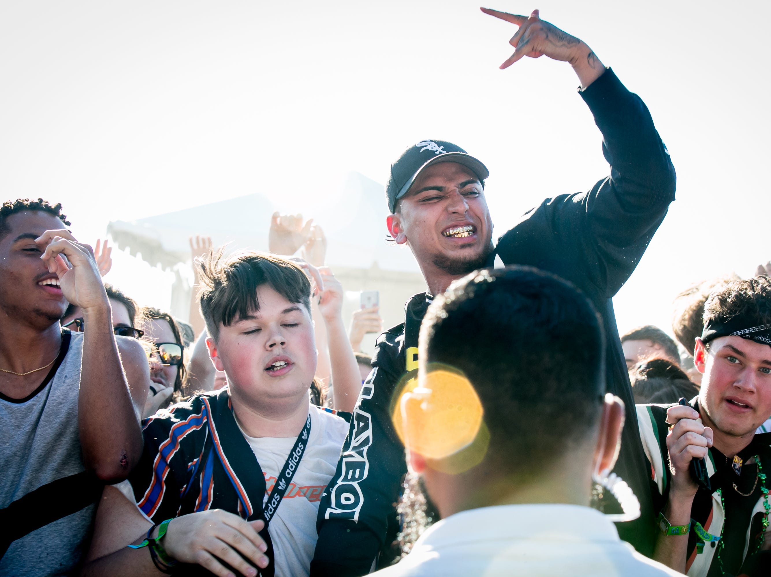 The crowd went all out during Ski Mask The Slump God's set at Pot of Gold Music Festival on Sunday, March 17, 2019.