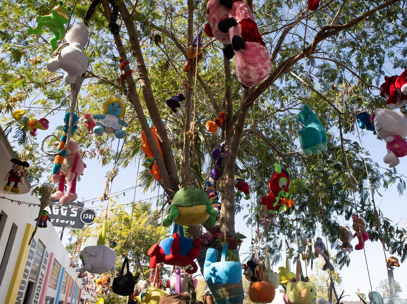 Stuffed animals hand from trees on March 16, 2019, in Phoenix during Art Detour.