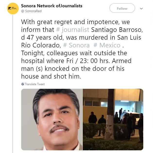 Mexico journalist Santiago Barroso shot at his home in Sonora; 4th killed this year