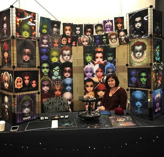 Jody Parmann shows off her Bitty Baddies series at Monroe Popfest.