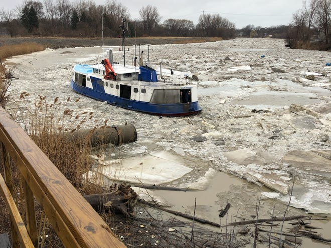 The city of Port Huron works with Purdy's Fisheries in Sarnia, Ontario, to use its tugboat icebreaker to break up ice in the Black River. It is pictured Friday, March 15, 2019, where it was reportedly briefly stuck.