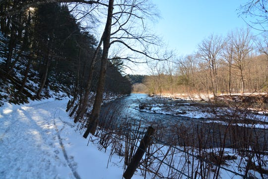 The Yellow Trail runs wide along the Shepaug River.