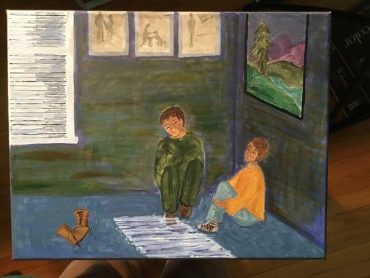 "Becky Neilsen's artwork depicts Lu Ann Schnable Kaldor's poem, ""In the Corner on the Floor,"" in the exhibit, ""Artists Respond to Poetry."""
