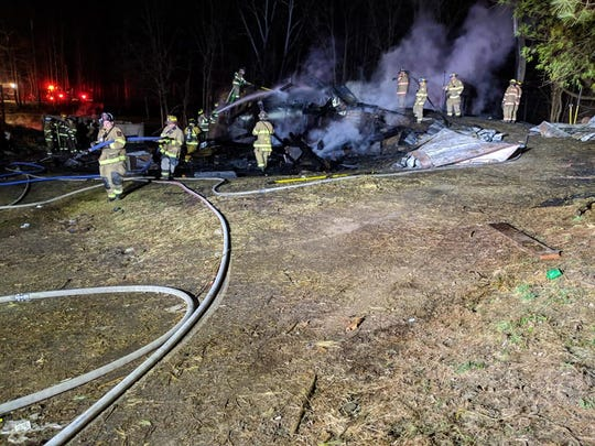 Crews responded to a barn fire in the 4200 block of Myers Road, Codorus Township,  on Monday, March 18. Photo courtesy of Shrewsbury Volunteer Fire Co.