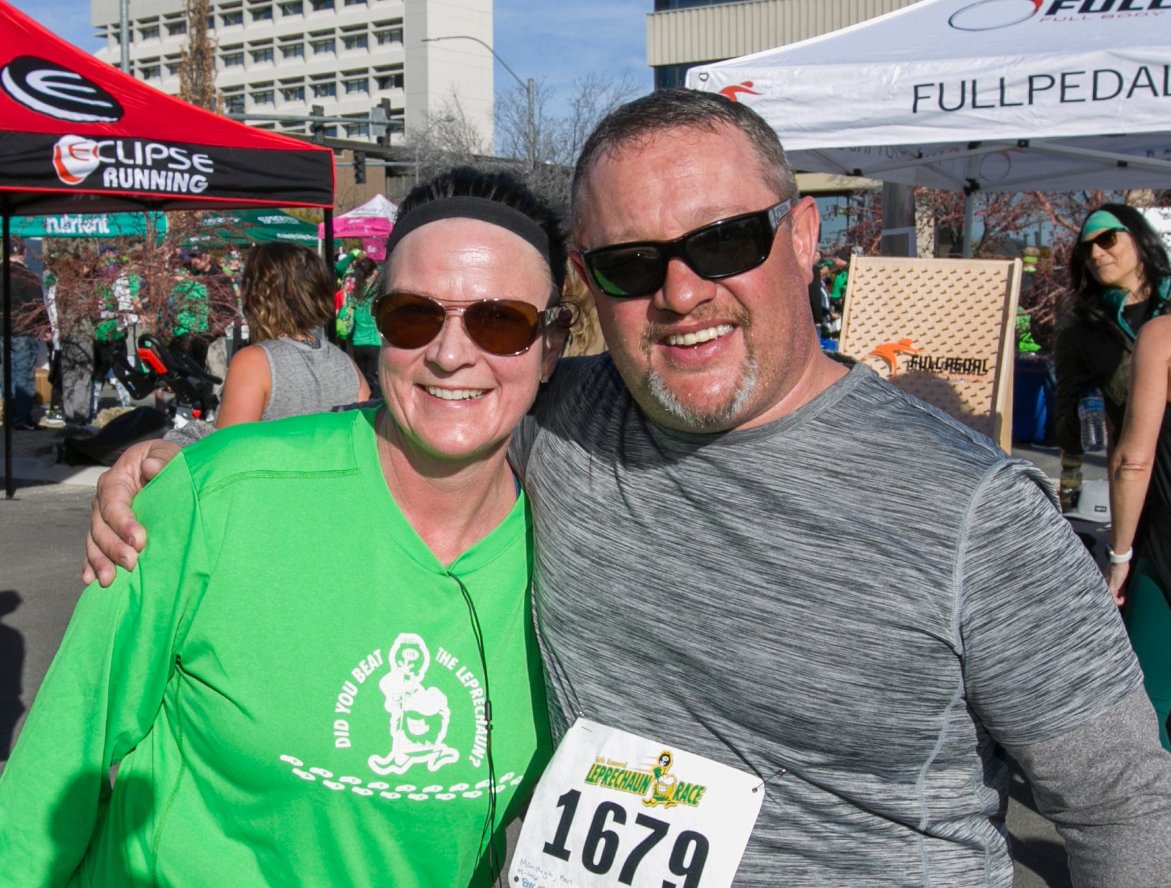 Charlene and Ken after the 7th annual Leprechaun Race in downtown Reno, Nevada on Sunday, March 17, 2019.