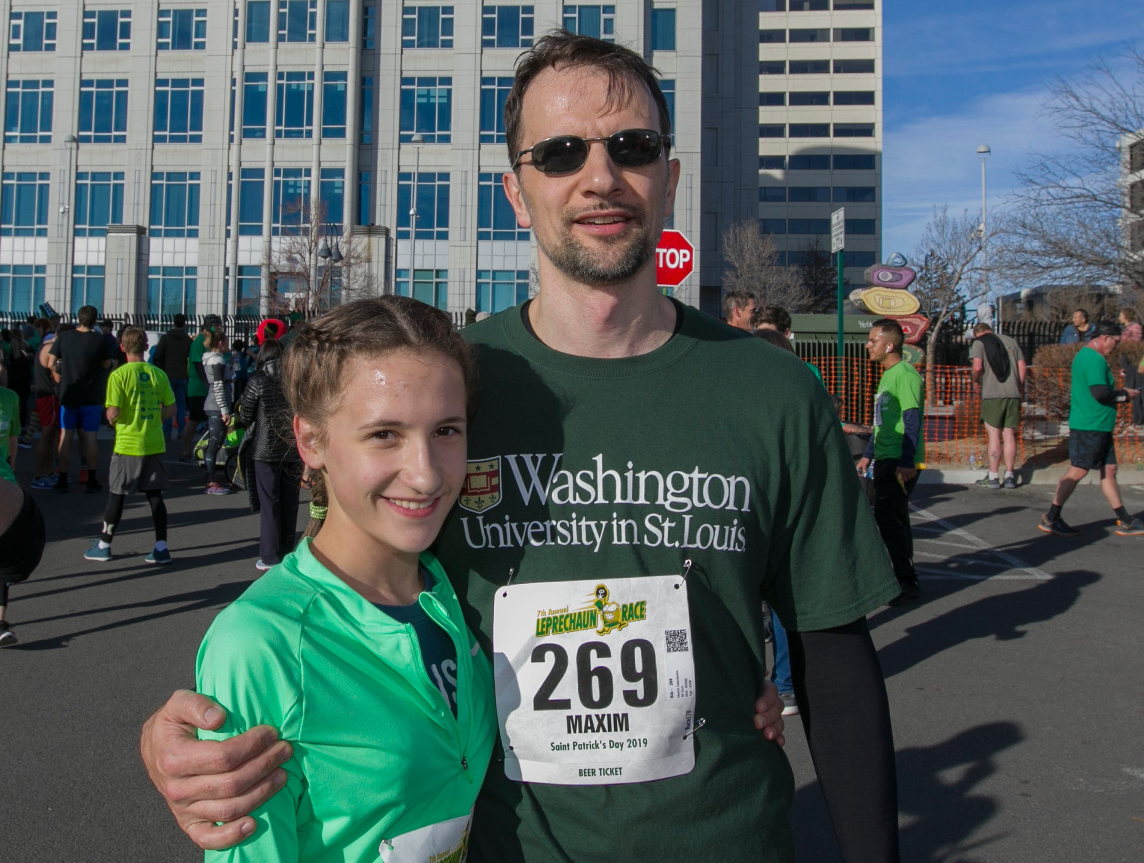 Arina and Maxim after the 7th annual Leprechaun Race in downtown Reno, Nevada on Sunday, March 17, 2019.