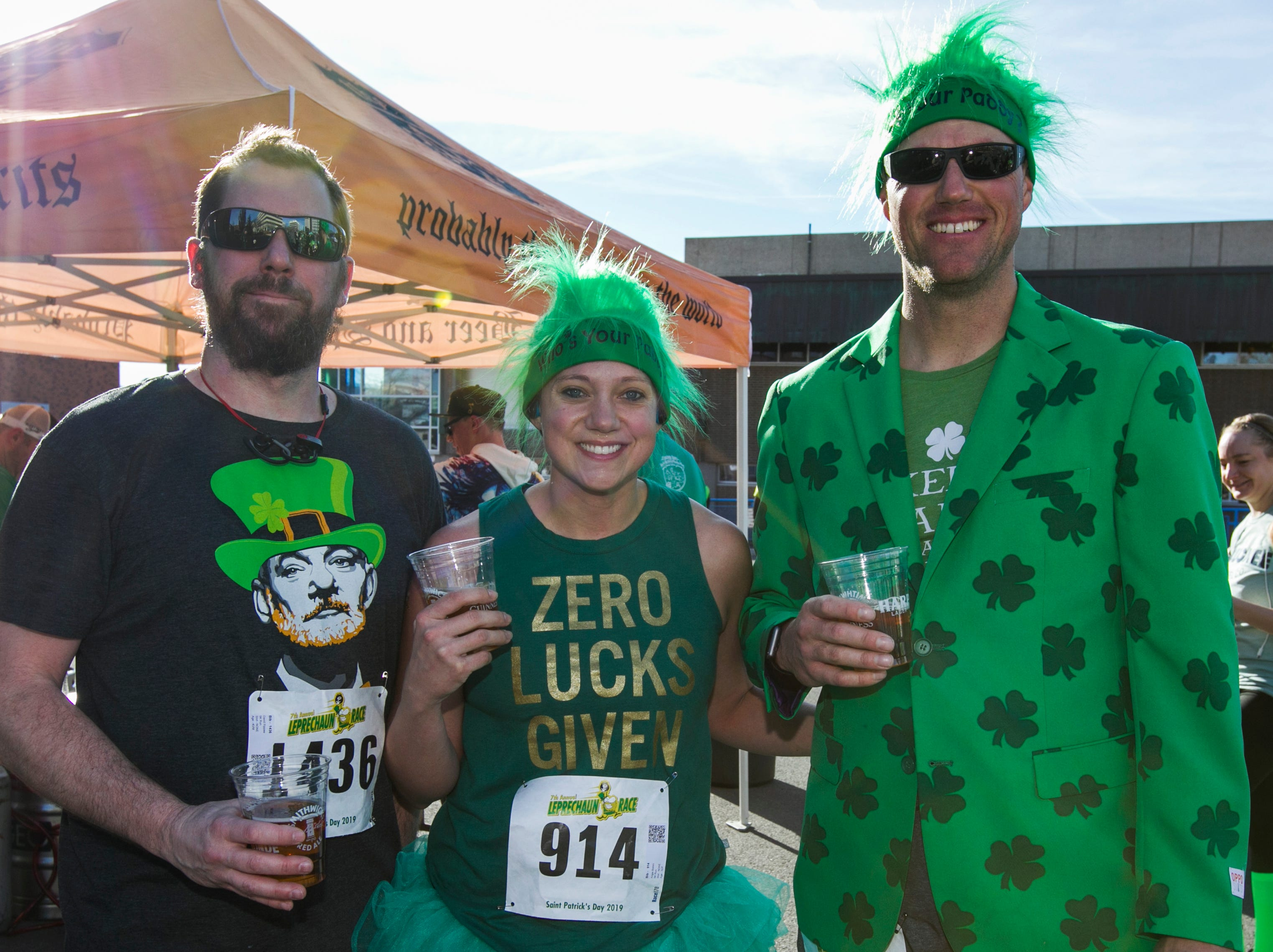 David, Angie and Scott after the 7th annual Leprechaun Race in downtown Reno, Nevada on Sunday, March 17, 2019.