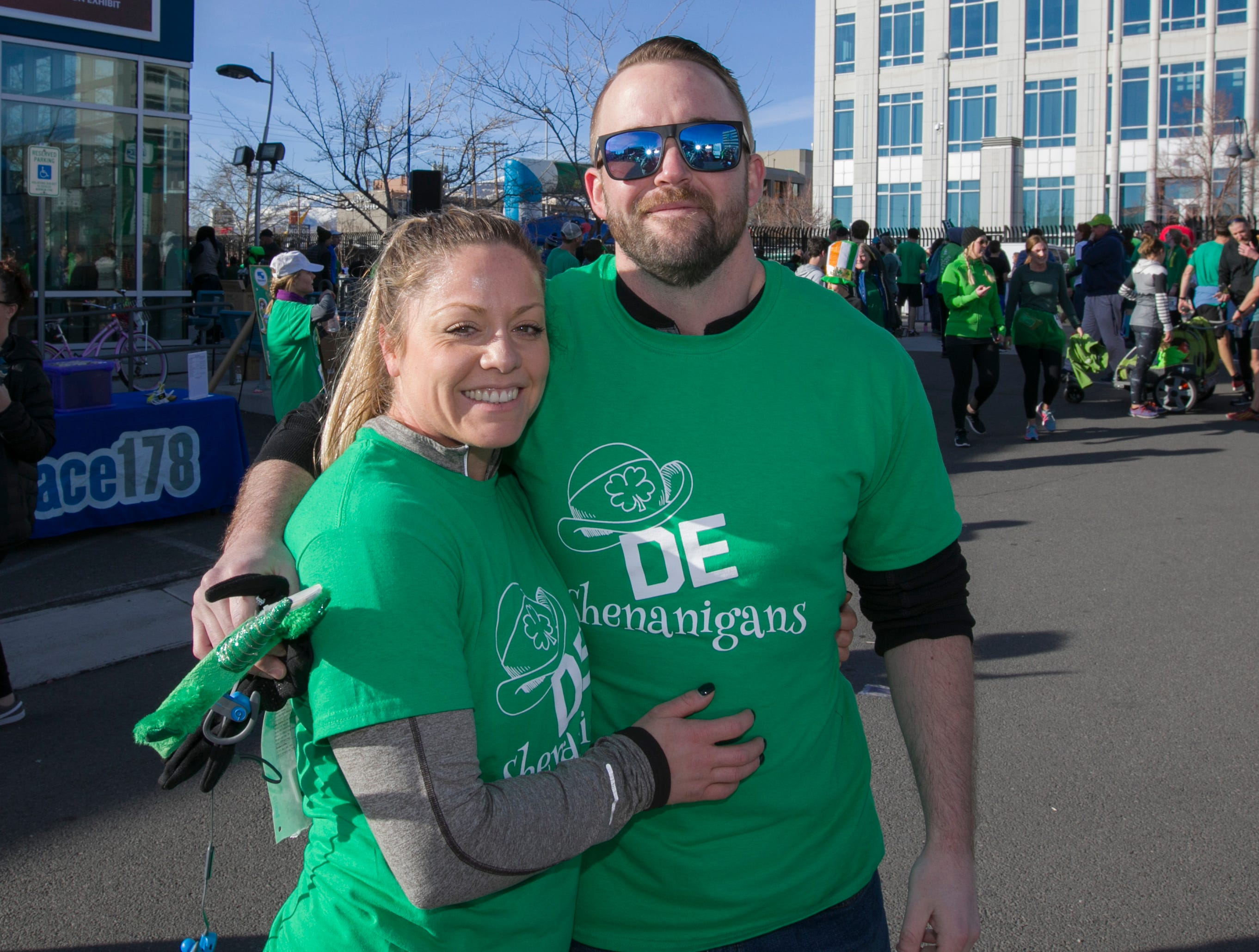 Sabrina and Scott after the 7th annual Leprechaun Race in downtown Reno, Nevada on Sunday, March 17, 2019.