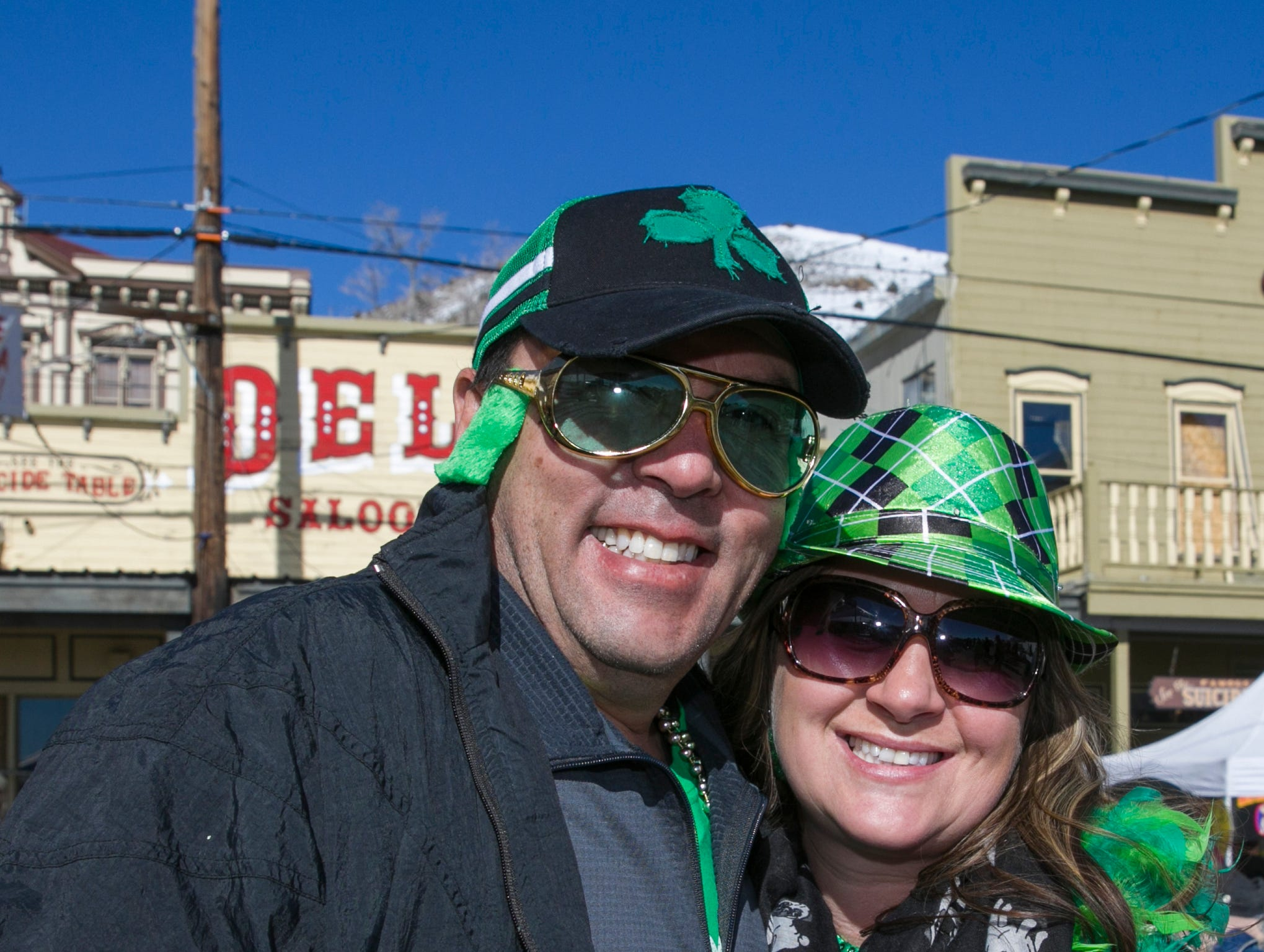 Ciro and Starr during the 28th annual Rocky Mountain Oyster Fry and St. Patrick's Day Parade in Virginia City, Nevada on Saturday March 16, 2019.