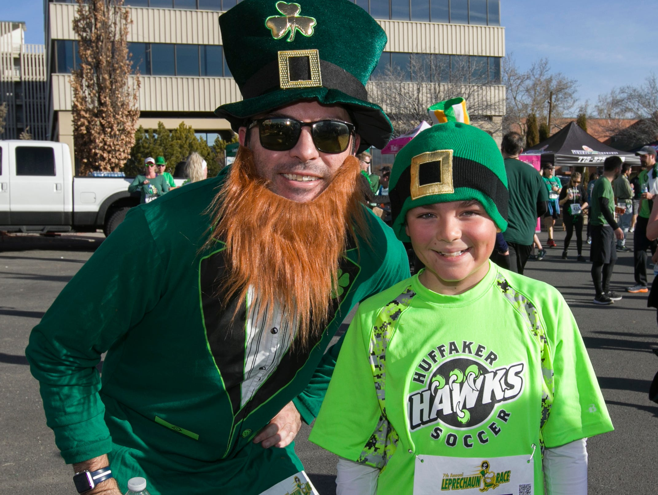 Barry and Adrian after the 7th annual Leprechaun Race in downtown Reno, Nevada on Sunday, March 17, 2019.