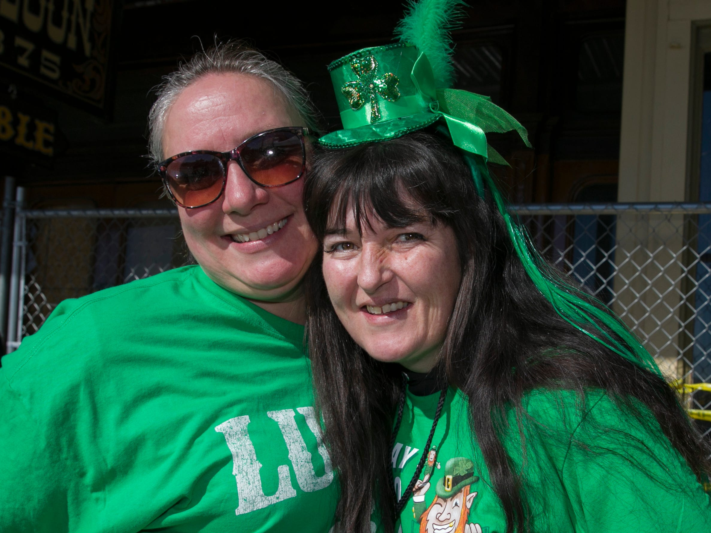 Victoria Child and Cami Downing during the 28th annual Rocky Mountain Oyster Fry and St. Patrick's Day Parade in Virginia City, Nevada on Saturday March 16, 2019.