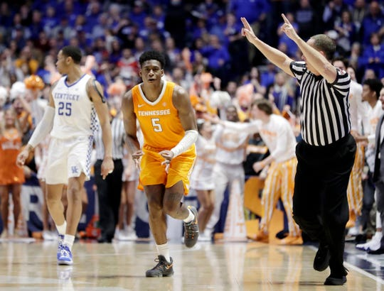 Tennessee guard Admiral Schofield (5) celebrates as he runs down the court after making a 3-point basket against Kentucky in the second half of an NCAA college basketball game at the Southeastern Conference tournament Saturday, March 16, 2019, in Nashville, Tenn. Tennessee won 82-78.