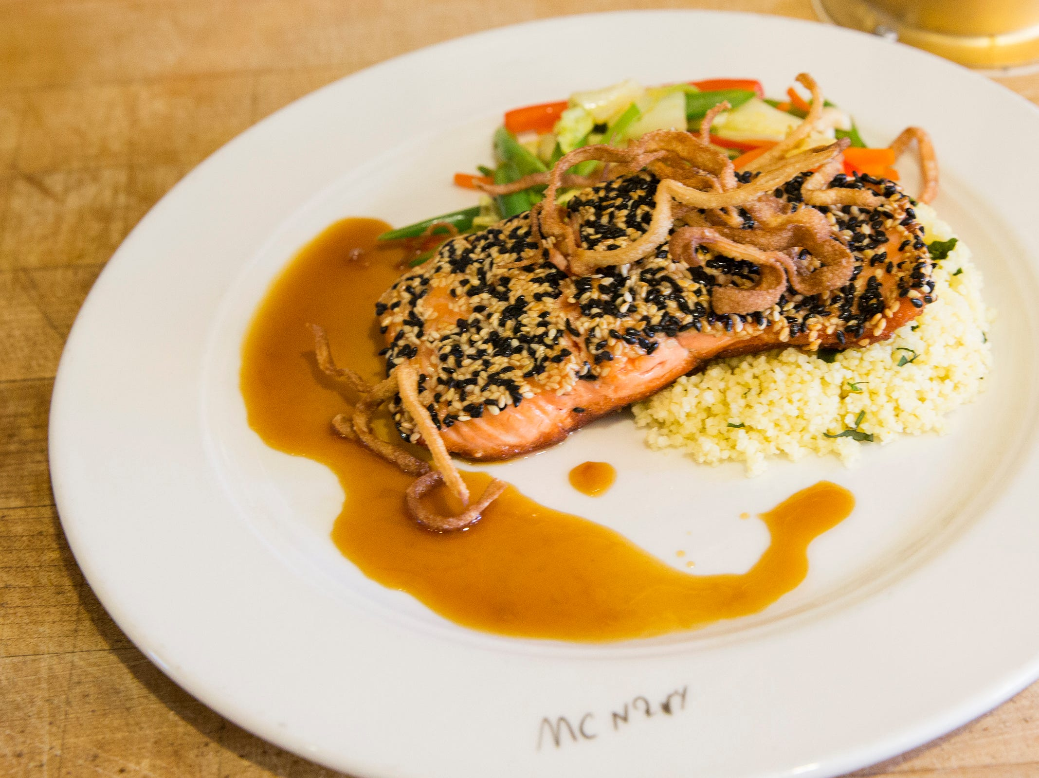 McNary's Sesame Crusted Local Steelhead entree is pictured before being judged during the ORLAEF's ProStart Invitational, a statewide high school culinary competition, at the Salem Convention Center on March 18, 2019.