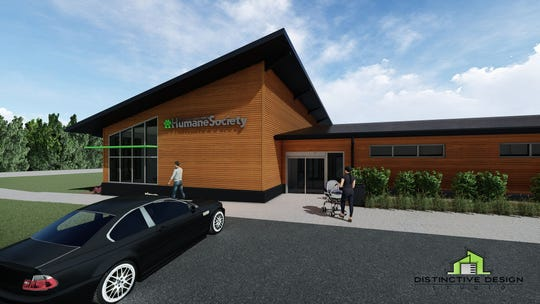 A rendering of the exterior of the new Humane Society of Sheboygan County.