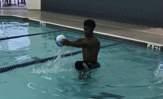 NFL prospect Greedy Williams gets some work in the pool in preparation for LSU's Pro Day.