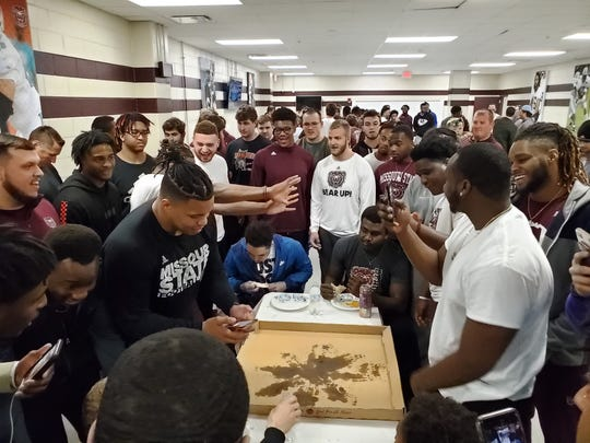 Missouri State football held a pizza eating contest to open its spring season.