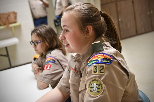 Senior Patrol Leader Morgan Peopping leads a meeting of BSA Troop 32 Thursday, March 14, in Avon.