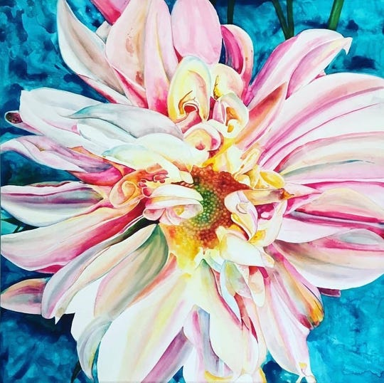 Rene Lynch's flower is one of the works at the Ten Artists show.