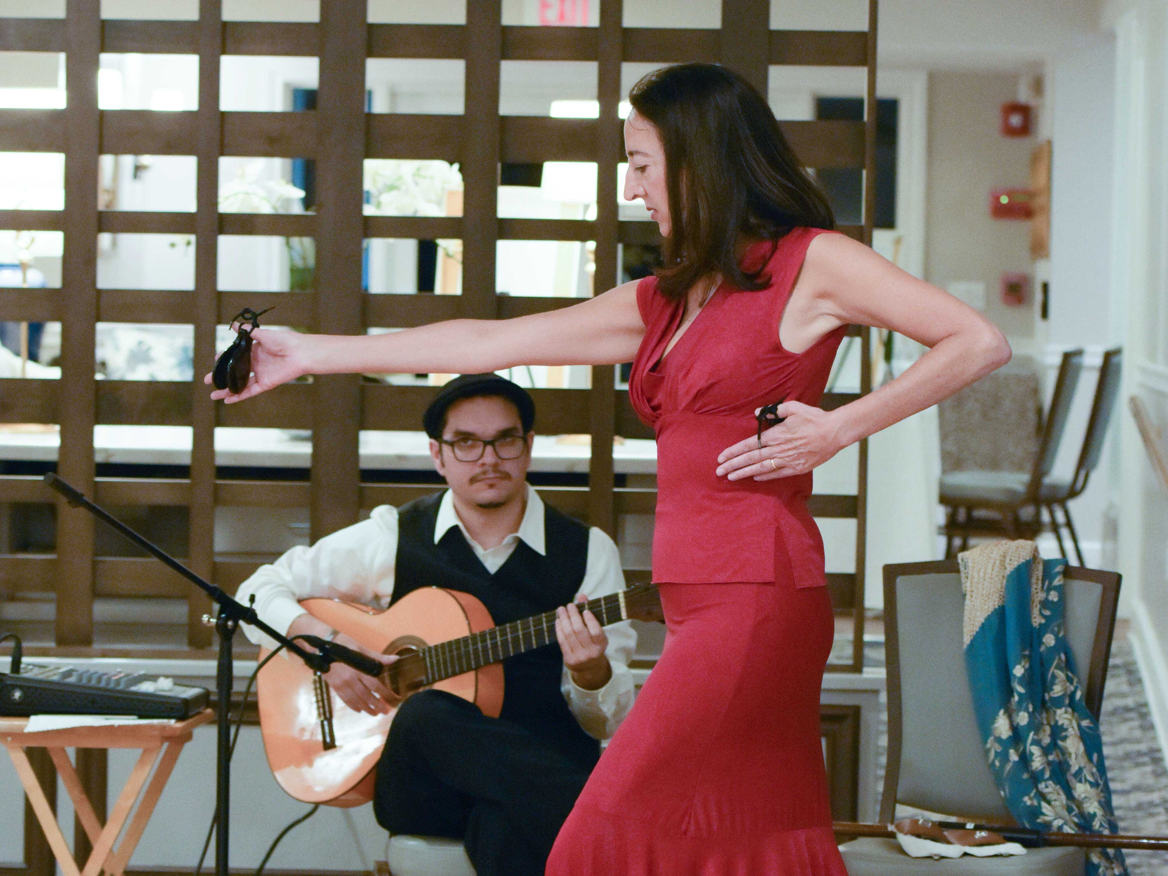 Flamenco guitarist Guillermo Gonzales accompanies dancer Eva Conti at the Stuart Friends of the Atlantic Classical Orchestra's Meet the Artist Dinner at the Stuart Yacht & Country Club.