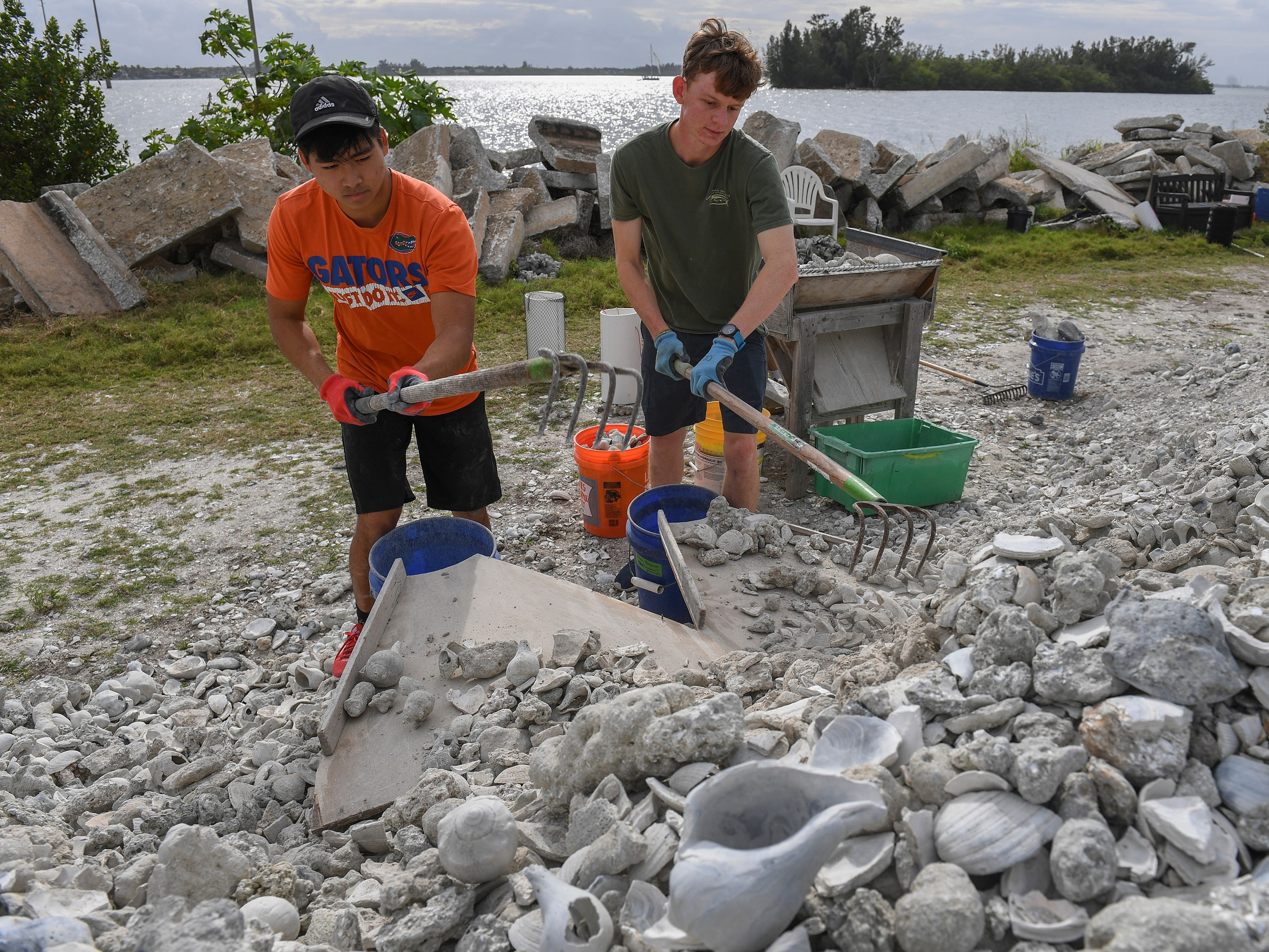 """Vero Beach High School seniors (from left) Chris In, 17, and Logan Votzi, 18, volunteer during spring break, to help make shell bags, on Monday, March 18, 2019, along the shore of the Indian River Lagoon at the southwest corner of the 17th Street Alma Lee Loy Bridge behind the water treatment plant, during the Ocean Research & Conservation Association's (ORCA) shell bagging day for the Living Lagoon Program. The program is about actively restoring the Indian River Lagoon through habitat restoration and education. The shell bags are used to make breakwaters offshore from areas impacted by wave erosion in Indian River County. """"I got to this through Harbor Branch, I was an intern there and they were talking about this, how they put these [shell bags] off [shore] to counteract all the wake coming in from the channels,"""" Votzi said. """"It's just to help the onshore nurseries, blocking the erosion."""" The project is funded with an Indian River County Impact 100 grant, to be completed by the end of May. Volunteering opportunities for the program happen several time a month. Information on how to volunteer can be found at www.teamorca.com."""