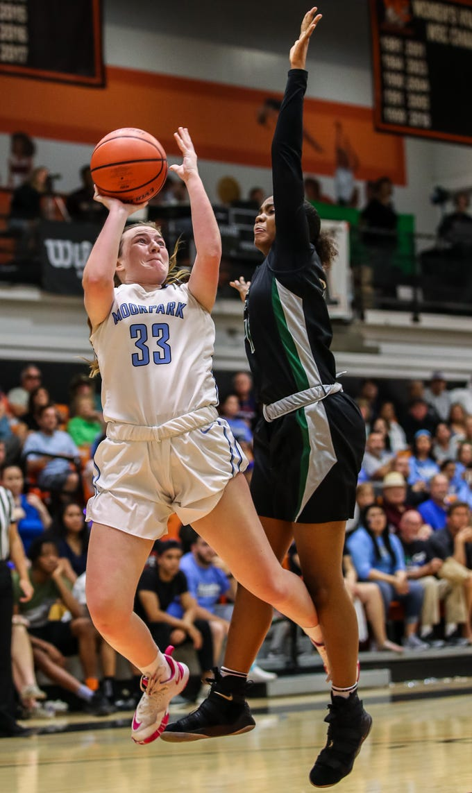 Moorpark College's Kristen Sullivan shoots a jumper against Diablo Valley College during the CCCAA state championship game at Ventura College on Sunday. Moorpark lost, 68-61.