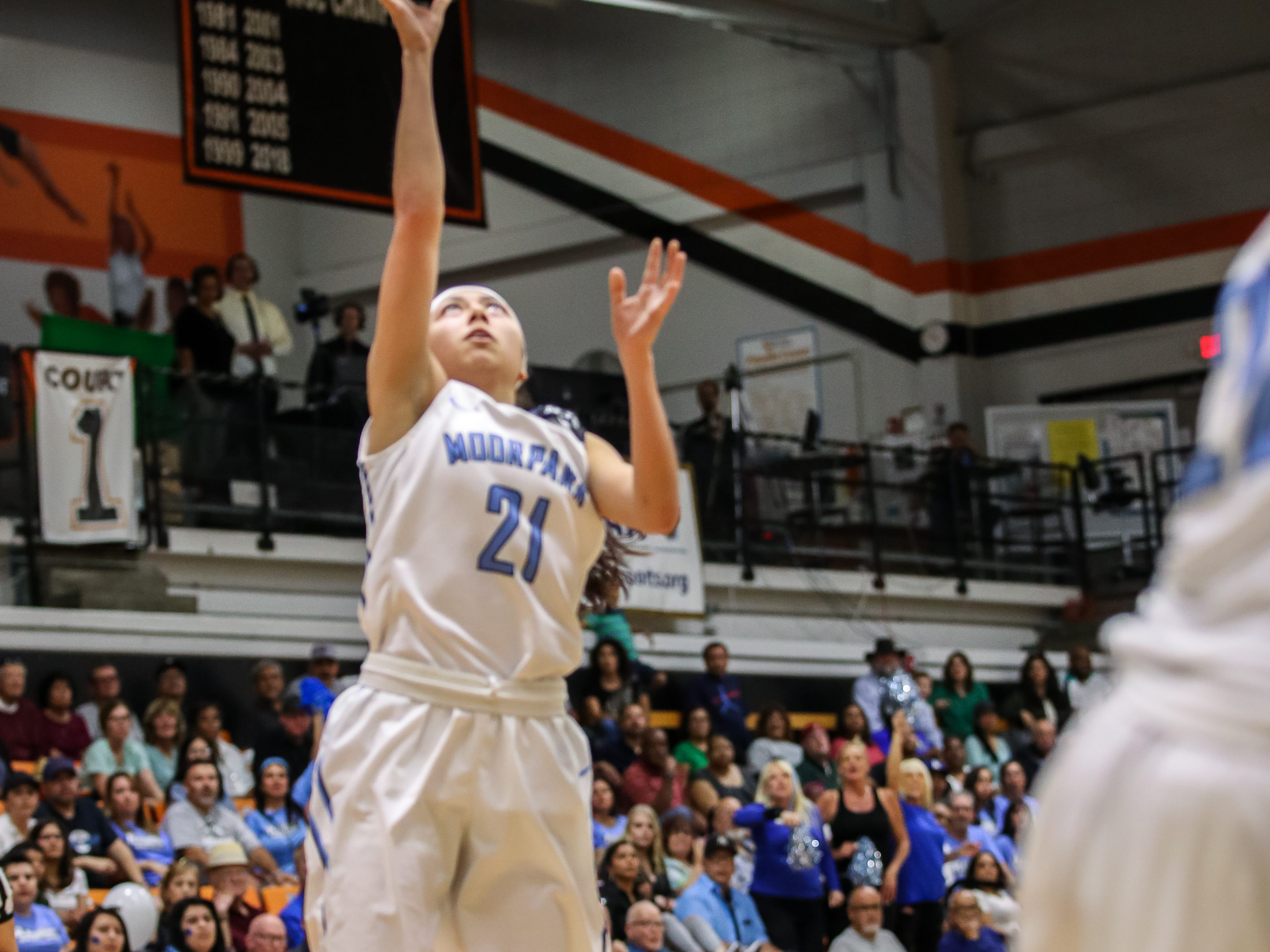 Moorpark College's Jazmin Carrasco drops in a layup against Diablo Valley College during the CCCAA state championship game at Ventura College on Sunday. Moorpark lost, 68-61.