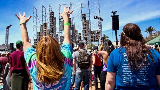 Hundreds of Deadheads - devoted fans of the Grateful Dead - are expected to descend on the Ventura County Fairgrounds April 5-7 for the third annual Skull & Roses festival featuring more than 20 Dead tribute bands. Shown here is last year's festival.