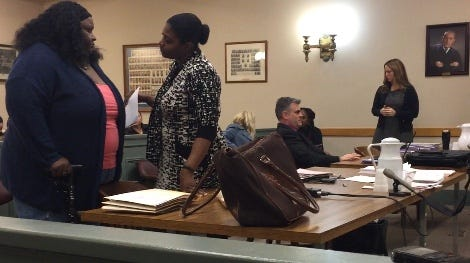 A Millville woman charged with murder in the 2017 death of her disabled son from alleged neglect was in Superior Court briefly on Monday. Cinnamon A. Corley, (far left) walking with a cane, was asked to return in May for another pre-trial meeting. Here, Corley talks with state Public Defender JoEllyn Jones.