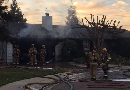 Visalia firefighters responded to a home fire on Monday, March 18, 2019.