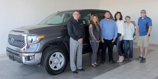 From left:  Jerry Sinift, International Agri-Center CEO, Jeannie Burton, Visalia Toyota, Victor Astorga, 2019 winner, Sandy Cetti, Valley Children's Healthcare Guild Manager, Mindy Rolland, Las Madrinas Guild, and Brad Smittcamp, Padrinos Guild.