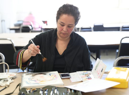 Sam Carter of Scarsdale works on a project at the Westchester Community College's Center for the Arts program at the County Center in White Plains on Monday, March 18, 2019.