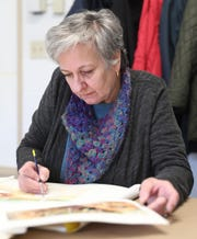 Ruth Bauer of Yonkers works on a project at the Westchester Community College's Center for the Arts program at the County Center in White Plains on Monday, March 18, 2019.